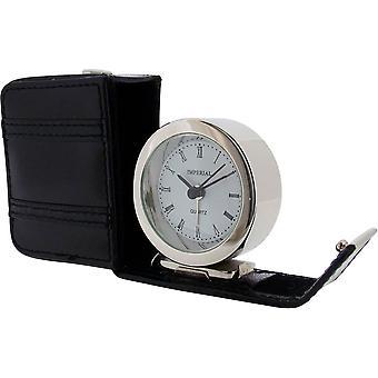 Regalo productos cuero caso alarma reloj - plata/negro