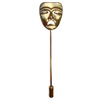 Bassin and Brown Sad Mask Lapel Pin - Gold