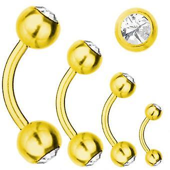 Böjd skivstång guld pläterad Titanium 1,6 SWAROVSKI ELEMENTS kristall vita | 6-16