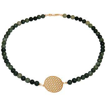 GEMSHINE Halskette Choker: Yoga grüner Jade Farbverlauf. Silber, vergoldet, rose