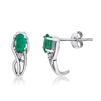 LXR 14K valkoinen kulta kaareva smaragdi ja timantti korvakorut 0.45ct