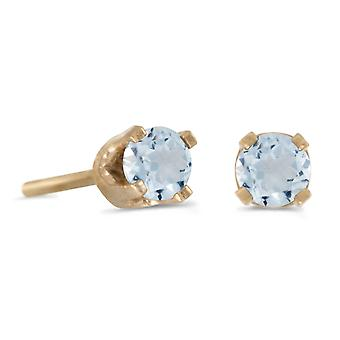LXR 3mm Petite Round Genuine Aquamarine Plug Kolczyki w 14k Yellow Gold 0.14ct