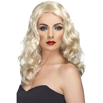 Long Blonde Wavy Wig, Glamorous Wig, Fancy Dress Accessory.