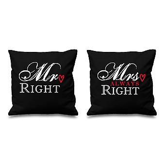 Mr Right Mrs Always Right Black Cushion Covers 16