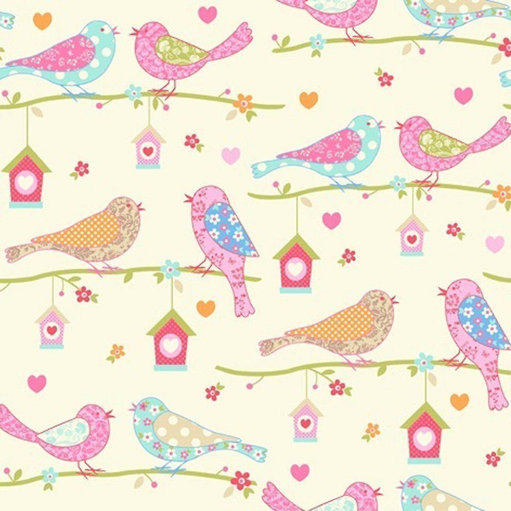 Dutch Birds Floral Hearts Wallpaper Cream Pink Chilren S Girls