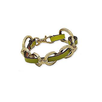 Green Leather and Gold Steel Bracelet 2159
