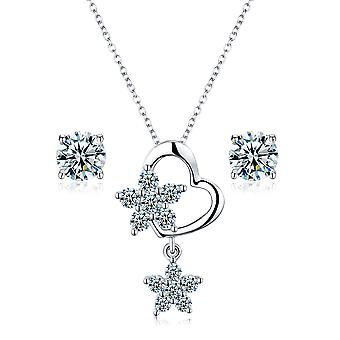 Pave hart van 925 Sterling Zilver met sterren Details hanger ketting & oorbel Set