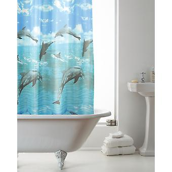 Country Club Hookless Shower Curtain, Dolphin