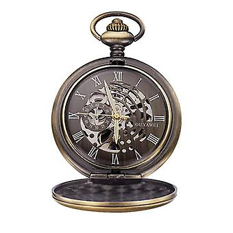 Bronze case aged look matching face pocket watch fob