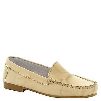 Leonardo Shoes Women's handmade slip-on moccasins in cream calf leather