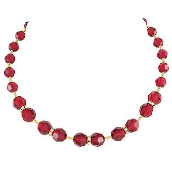 Eternal Collection Serenade Scarlet Red Austrian Crystal Gold Tone Necklace