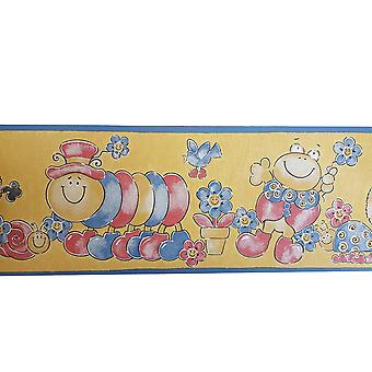 Bumble Bee Caterpillar Turtle Childrens Kids Wallpaper Border Yellow Blue Red