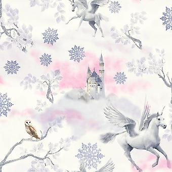 Fairytale Unicorn Wallpaper Horse Textured Glitter Effect White Lilac Arthous