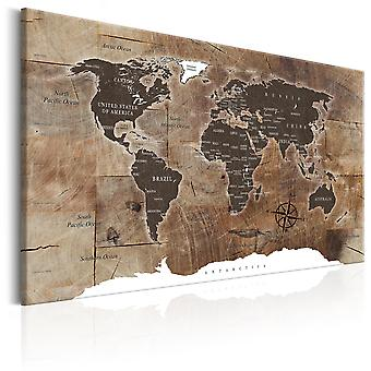 Canvas Print - World Map: Wooden Mosaic