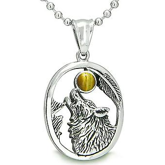 Amulet moed Howling Wolf Tiger Eye maan Gemstone Lucky Charm hanger ketting