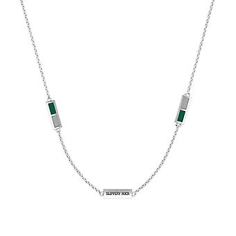 Slippery Rock University Sterling Silver Engraved Triple Station Necklace In Green & Grey