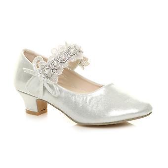 Ajvani meisjes lage hak Lace Strap Mary Jane partij formele schoenen