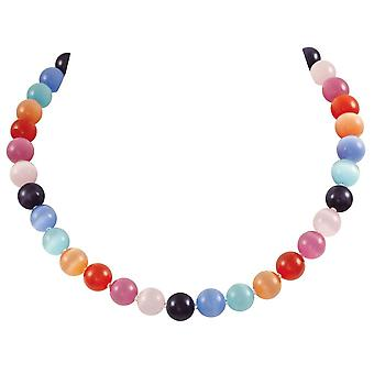 Eternal Collection Melody Rainbow Cats Eye Beaded Silver Tone Statement Necklace