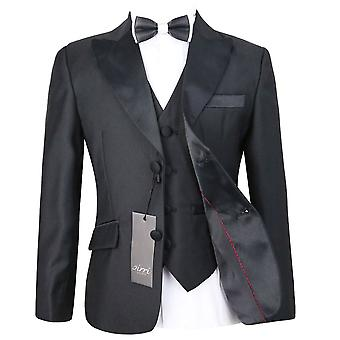 Boys Black Peak Lapel Tuxedo Suit Set