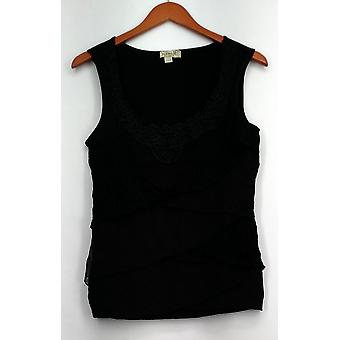 One World Top Sleeveless Solid Lace Tiered Tank Black Womens A409509