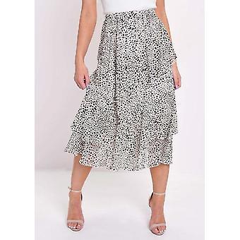 Cheetah Animal Print Frill Chiffon Midi Skirt Cream