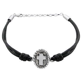 Cross - 925 Sterling Silver + Nylon Cord Corded Bracelets - W17303X