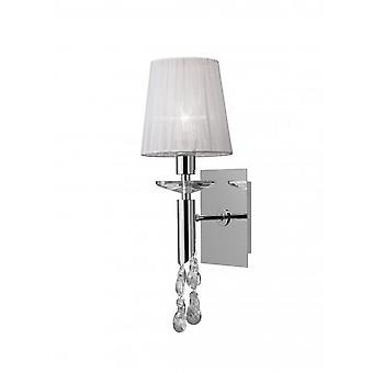 Mantra Tiffany Wall Lamp Switched 1+1 Light E14+G9, Polished Chrome With White Shade & Clear Crystal