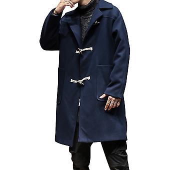 Allthemen Men's Overcoat Loose Lapel Horn Button Cotton Mid-Long Coat