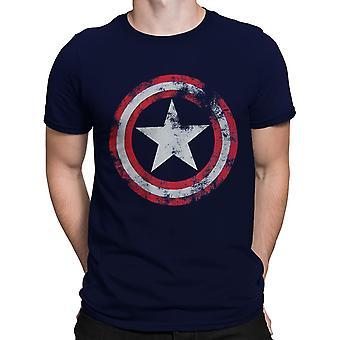 Kapitan Ameryka Distressed Tarcza Navy T-Shirt