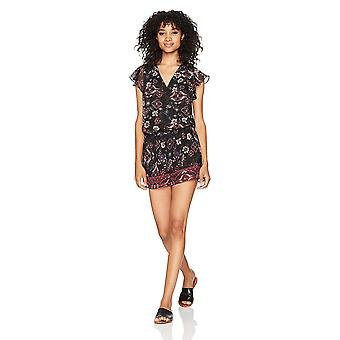 A. Byer Women's Short Sleeve Printed Wrap Front Romper, pat c, Pat C, Size Small