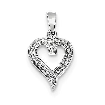 925 Sterling Silver Polished Rhodium Diamond Love Heart Pendant Necklace Jewelry Gifts for Women