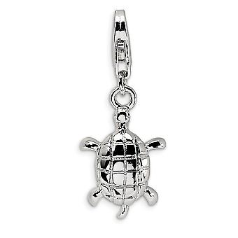 925 Sterling Silver Rhodium plated Fancy Lobster Closure Polished Turtle With Lobster Clasp Charm Pendant Necklace Measu