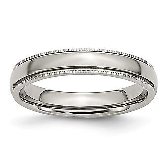 Stainless Steel Beaded Engravable Grooved and Bead Charmed 4mm Polished Band Ring - Ring Size: 6 to 12