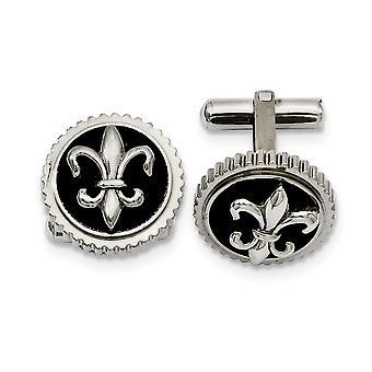 Titanium Polished with Black Enamel Fleur De Lis Cuff Links Jewelry Gifts for Men