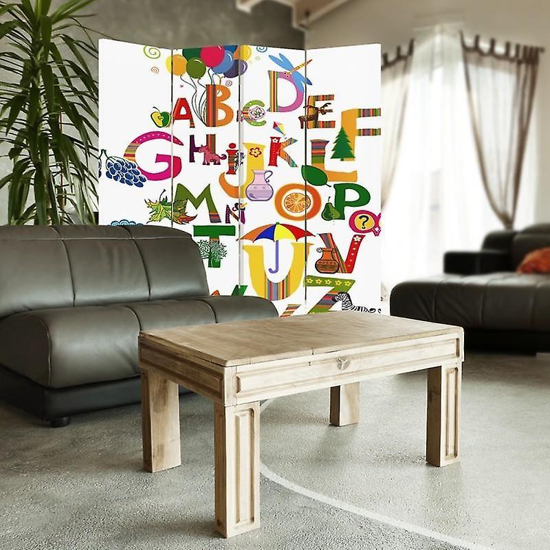 Diviseur de chambre, 4 panneaux, toile, alphabet 5