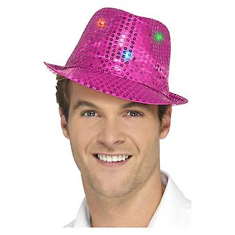 Adulti rosa paillettes Trilby cappello costume accessorio si accendono