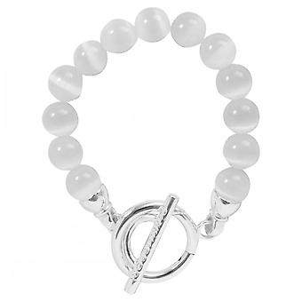 Nikki Lissoni Smooth White Cats Eye Silver Plated Beaded Bracelet