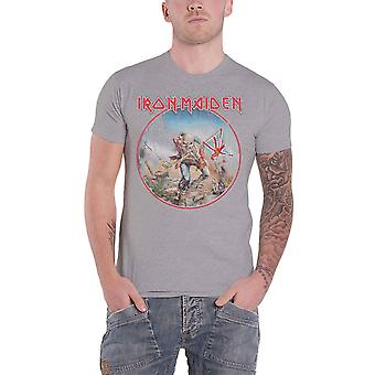 Iron Maiden T Shirt Trooper Vintage Circle Band Logo new Official Mens Grey