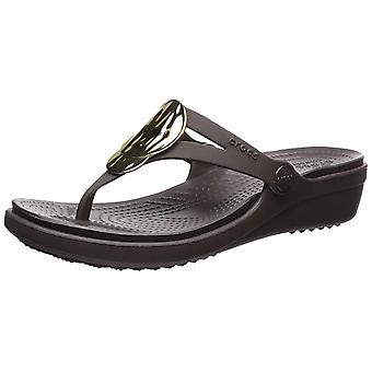 Crocs Women's Sanrah Liquid Metallic Wedge Flip Sandal