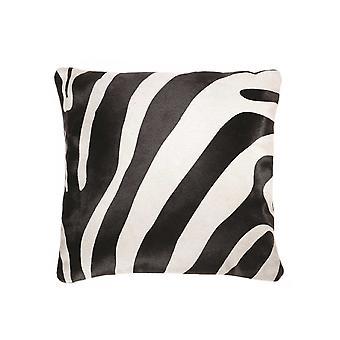 "18"" x 18"" x 5"" Zebra Black On Off White Cowhide - Pillow"
