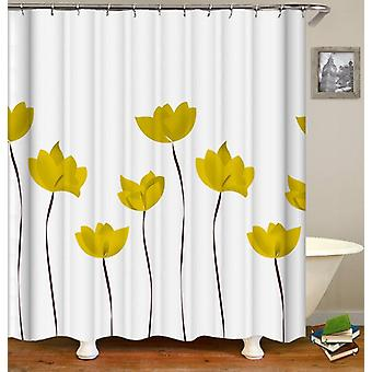 Yellow Tulip Drawing Shower Curtain