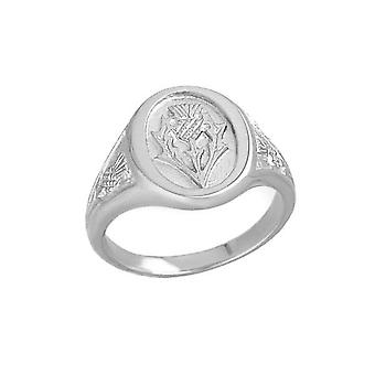 Sterling Silver Traditional Scottish Traditional Scottish Thistle Design Ring