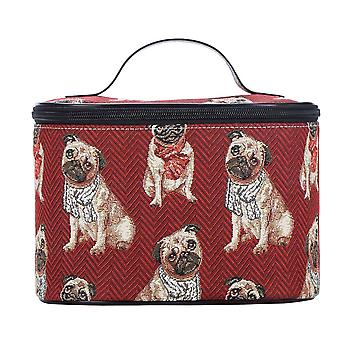PUG Make-up-Tasche von signare tapestry/toil-pug