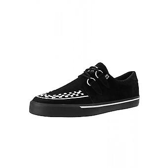 TUK Shoes Black & White Suede D-Ring VLK Creeper Sneaker