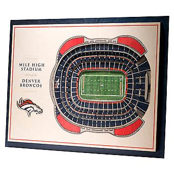 YouTheFan Wood Wall Decoration Stadium Denver Broncos 43x33cm