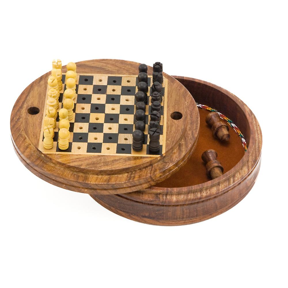 5 Inch Round Pegged Sheesham Travel Chess Set