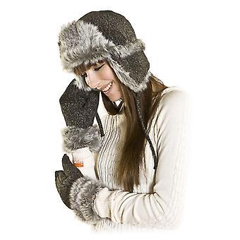 Dames Faux Fur-Tweed Trapper hoed & Mitt handschoen warme Winter Set lichtgrijs