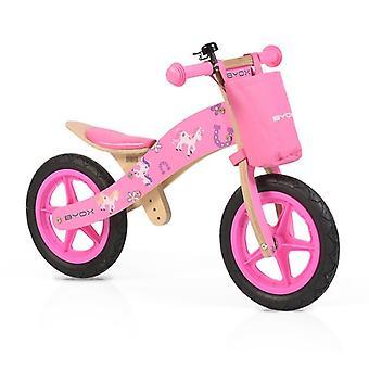 Byox Wood Balance Wheel Woody Pink, 12 pouces pneu en caoutchouc solide, selle PU réglable
