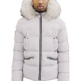 4BIDEN Majestic Fur Hooded Grey Puffer Jacket