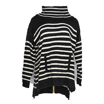 Charter Club Women's Plus Sweater Crowl Neck Strp Black
